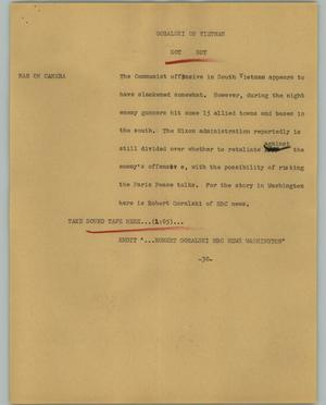 Primary view of object titled '[News Script: Goralski on Vietnam]'.