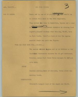 Primary view of object titled '[News Script: A&M, Trinity]'.