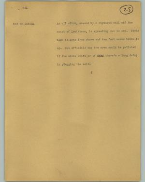 Primary view of object titled '[News Script: Oil]'.