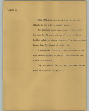Primary view of object titled '[News Script: Apollo 10]'.
