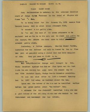 Primary view of object titled '[News Script: TARCO court cases]'.