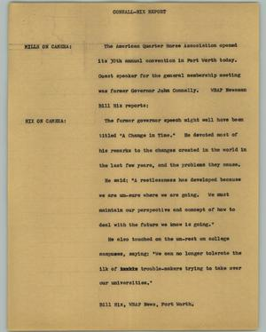 Primary view of object titled '[News Script: Connall Hix Report]'.