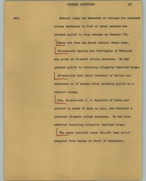 Primary view of object titled '[News Script: Pushers sentenced]'.