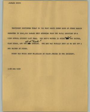 Primary view of object titled '[News Script: Damage Suit]'.