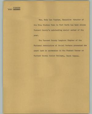 Primary view of object titled '[News Script: Ruby Piester]'.