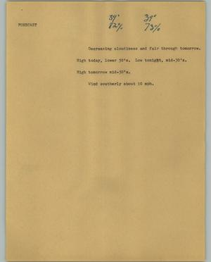Primary view of object titled '[News Script: Forecast]'.