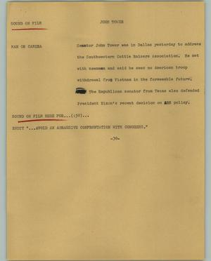 Primary view of object titled '[News Script: John Tower]'.
