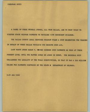 Primary view of object titled '[News Script: Welfare suit]'.