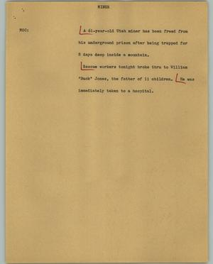 Primary view of object titled '[News Script: Miner]'.