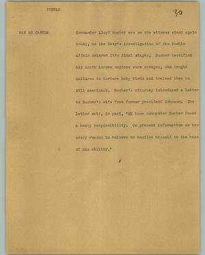 Primary view of object titled '[News Script: Pueblo]'.