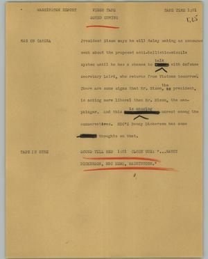 Primary view of object titled '[News Script: Washington report]'.