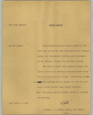 Primary view of object titled '[News Script: Duncan Report]'.
