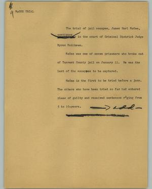 Primary view of object titled '[News Script: McGee trial]'.