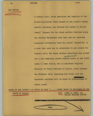Primary view of object titled '[News Script: Welfare]'.