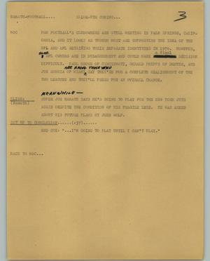 Primary view of object titled '[News Script: Namath Football]'.