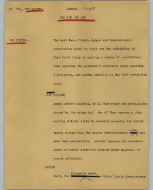Primary view of object titled '[News Script: Judges]'.