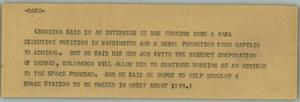 Primary view of object titled '[News Script: Schirra]'.