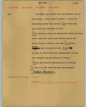 Primary view of object titled '[News Script: Red China]'.