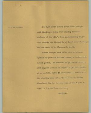 Primary view of object titled '[News Script: Fort Worth School Board]'.