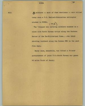 Primary view of object titled '[News Script: Korea]'.