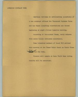 Primary view of object titled '[News Script: American contract vote]'.