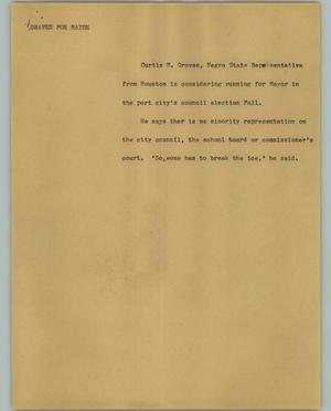 Primary view of object titled '[News Script: Graves for mayor]'.