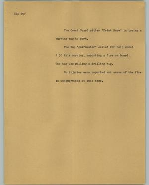 Primary view of object titled '[News Script: Sea tow]'.