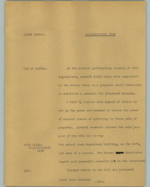 Primary view of object titled '[News Script: Assassination Site]'.