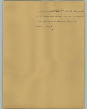 Primary view of object titled '[News Script: Redford death]'.