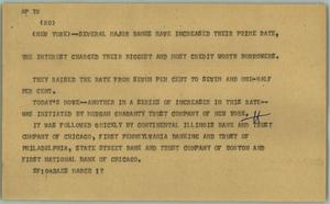 Primary view of object titled '[News Script: Bank interest]'.
