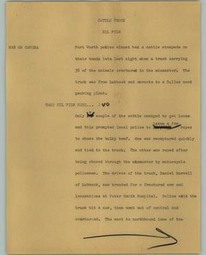 Primary view of object titled '[News Script: Cattle Truck]'.