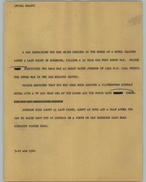 Primary view of object titled '[News Script: Fatal Crash]'.
