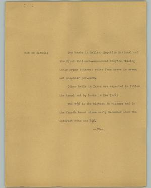 Primary view of object titled '[News Script: New Interest Rates]'.