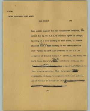Primary view of object titled '[News Script: Crime fighters]'.