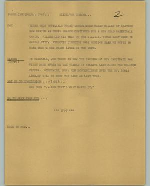 Primary view of object titled '[News Script: Torre-Cardinals]'.