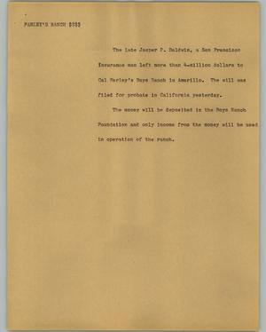 Primary view of object titled '[News Script: Farley's Ranch]'.