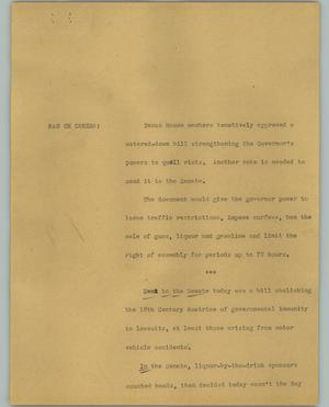 Primary view of object titled '[News Script: Texas House]'.