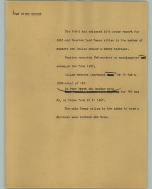 Primary view of object titled '[News Script: FBI crime report]'.