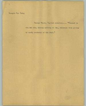 Primary view of object titled '[News Script: Thought for Today]'.