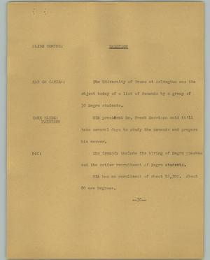 Primary view of object titled '[News Script: Harrison]'.