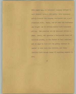 Primary view of object titled '[News Script: Davis insurance]'.