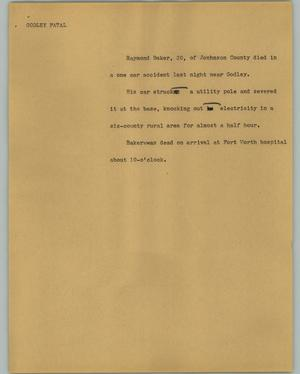 Primary view of object titled '[News Script: Godley Fatal]'.