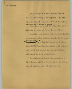 Primary view of object titled '[News Script: Wiley reopens]'.