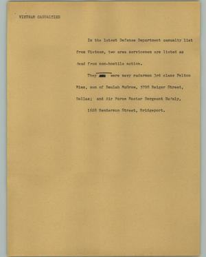 Primary view of object titled '[News Script: Vietnam casualties]'.