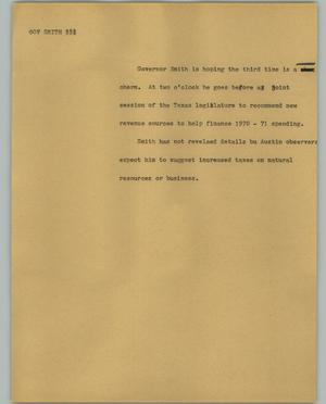 Primary view of object titled '[News Script: Gov Smith]'.