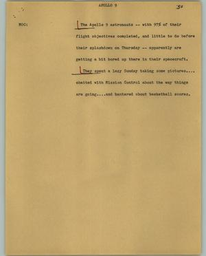 Primary view of object titled '[News Script: Apollo 9]'.
