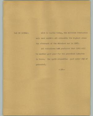 Primary view of object titled '[News Script: Railroad Commission Oil]'.