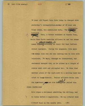 Primary view of object titled '[News Script: Soto]'.