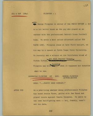Primary view of object titled '[News Script: Plimpton]'.
