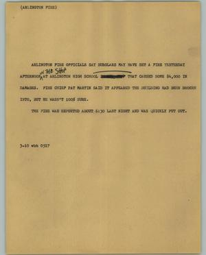 Primary view of object titled '[News Script: Arlington Fire]'.